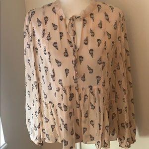 Rebecca Taylor Blush Pink Silk peplum blouse